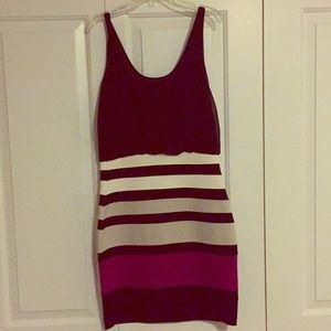 Black, white, grey, magenta striped dress